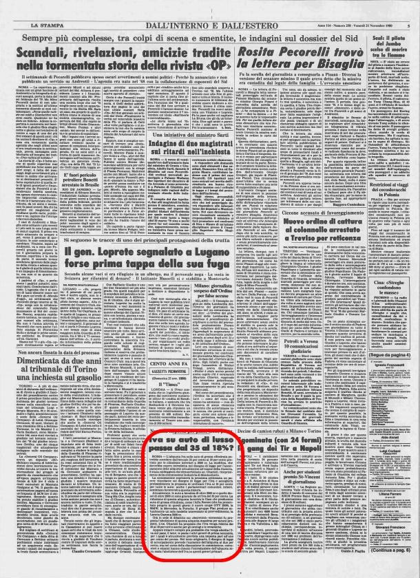 La Stampa, 21 Novembre 1980