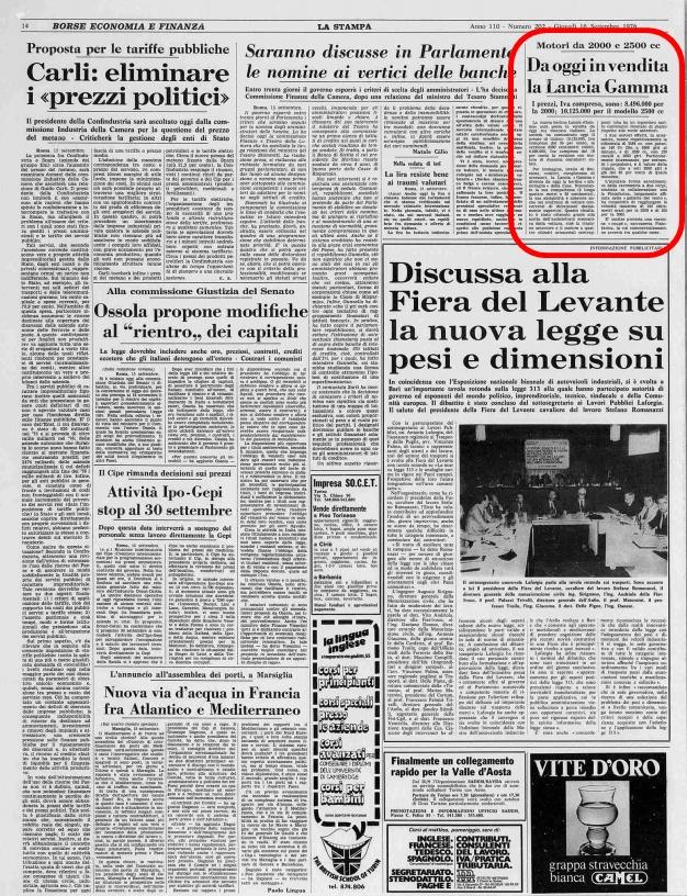 La Stampa, 16 Settembre 1976