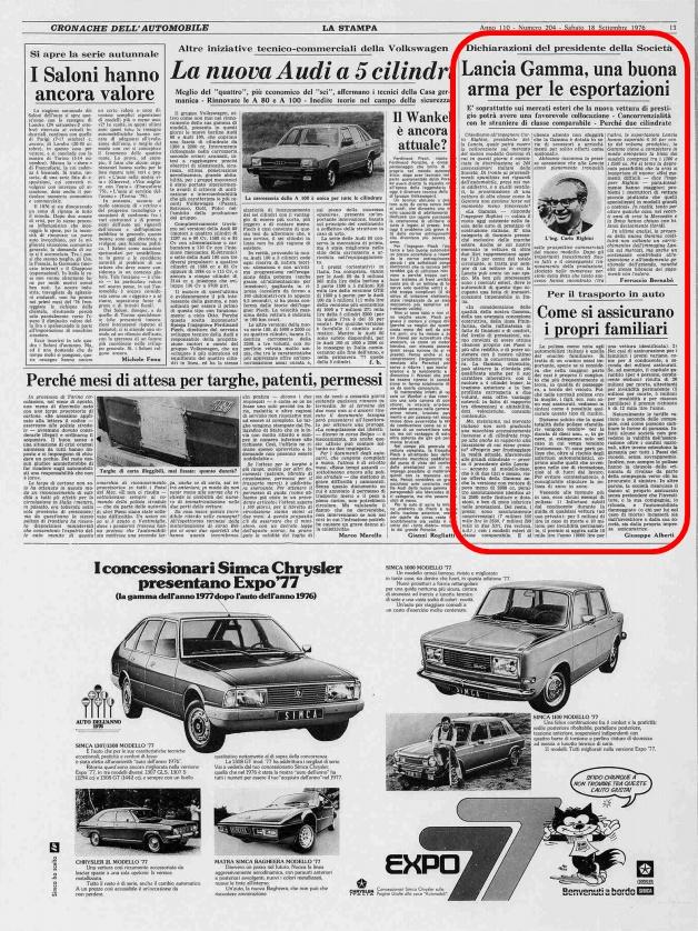 La Stampa, 18 settembre 1976