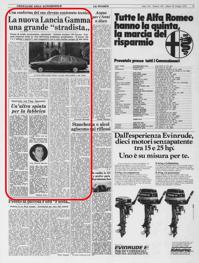 La Stampa, 26 Giugno 1976