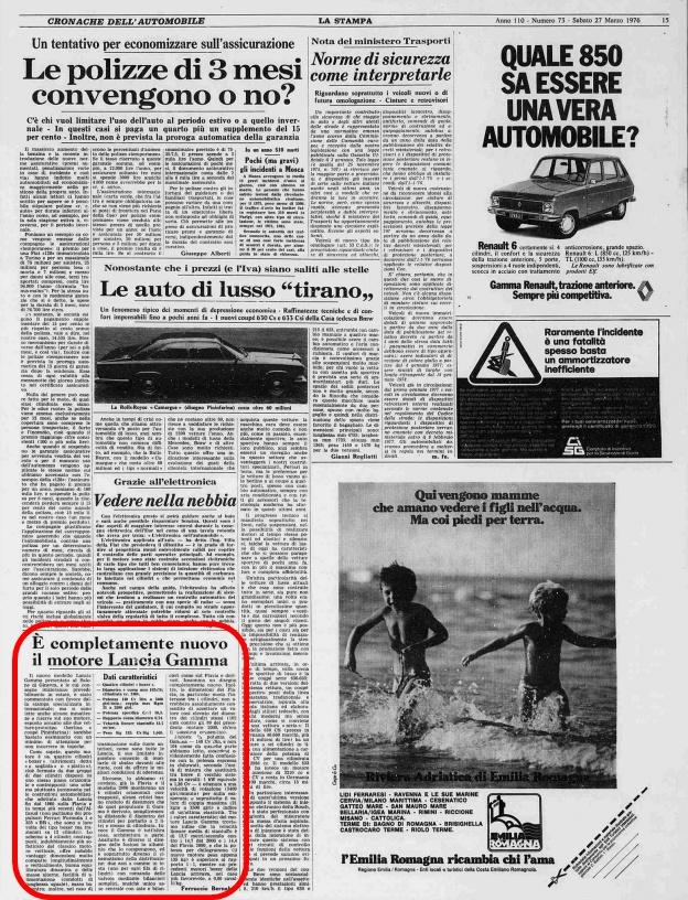 La Stampa, 27 marzo 1976