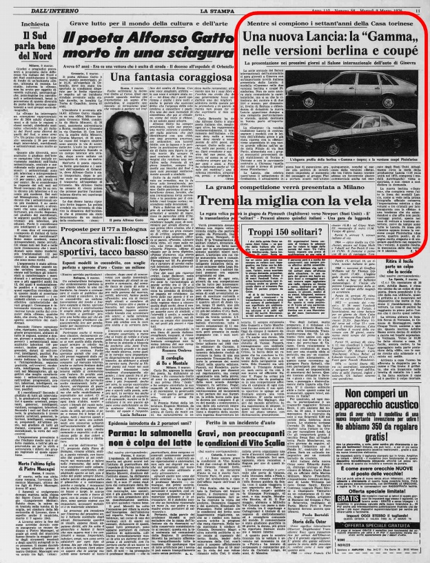 La stampa, 9 Marzo 1976